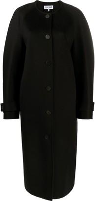 Loewe Cape-Detail Collarless Wool Coat