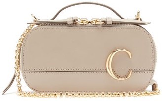 Chloé The C Structured Leather Cross-body Bag - Womens - Grey