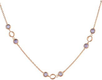 Latelita Milan Link Gemstone Necklace Rose Gold Amethyst