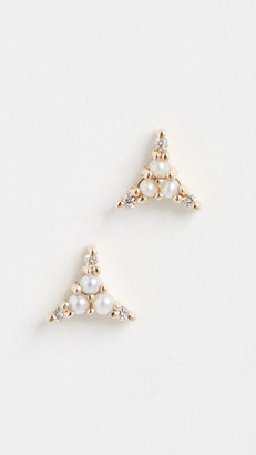 Jennie Kwon Designs 14k Pearl Diamond Triad Studs