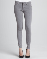 D-ID Denim Quilted-Stitching Skinny Jeans, Gray