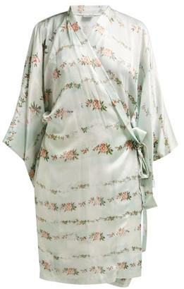 Preen by Thornton Bregazzi Floral-print Satin Robe - Womens - Light Green