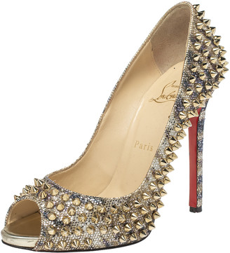 Christian Louboutin Gold Glitter Spike Peep Toe Pumps Size 38