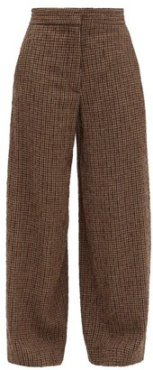 Raey Elasticated Back Wide Leg Textured Tweed Trousers - Womens - Brown Multi