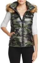 Aqua Faux Fur-Trim Camo Puffer Vest - 100% Exclusive