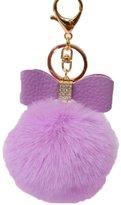 Hestio Key Chain Bag Charm Fluffy Puff Ball Bow Key Ring