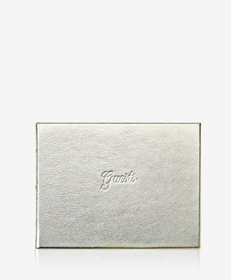 GiGi New York Guest Book, White Gold Metallics Leather