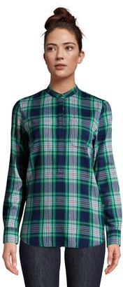 Lands' End Petite Relaxed Flannel Tunic Shirt