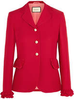Gucci Ruffled Wool And Silk-blend Jacket - Red