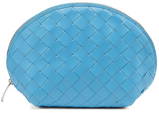 Bottega Veneta Large Intrecciato Cosmetic Case in Swimming Pool & Silver | FWRD