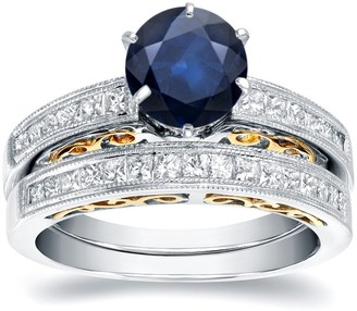 Auriya 14k Two-Tone Gold 1ct Vintage Sapphire and Diamond Engagement Ring Set 3/4ctw