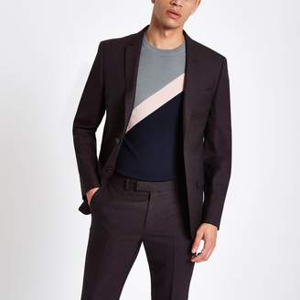 River Island Mens Dark Purple skinny fit suit jacket