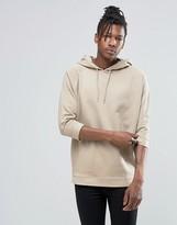 Asos Oversized Hoodie With Half Sleeves In Beige