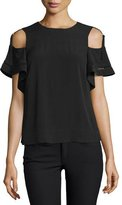 Rebecca Taylor Cold-Shoulder Short-Sleeve Top, Black