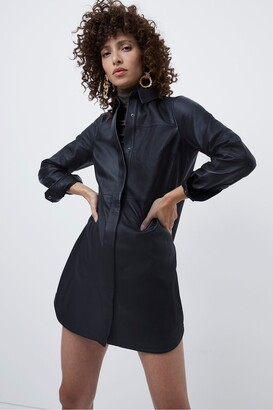 French Connection Patti Leather Belted Shirt Dress