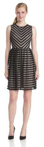 London Times Women's Sleeveless Stripe Mesh A Line Dress