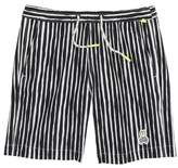 Psycho Bunny Watermark Vertical Stripe Swim Trunks