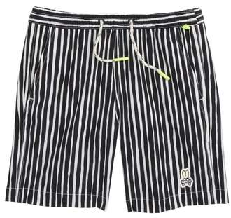 Psycho Bunny (サイコ バニー) - Psycho Bunny Watermark Vertical Stripe Swim Trunks