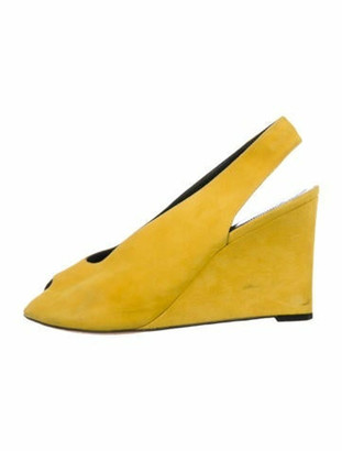 Celine Suede Slingback Wedges Yellow
