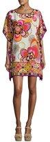 Trina Turk Sabita Floral Silk Mini Caftan, Multicolor