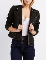 Charlotte Russe Quilted Faux Suede Moto Jacket
