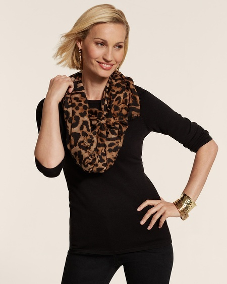 Chico's Glam Cheetah Oversized Scarf