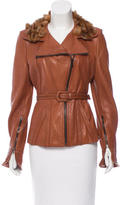 Fendi Fur-Trimned Leather Jacket