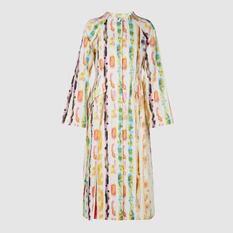 Rosie Assoulin White Watercolour Print Flared-Sleeve Cotton-Blend Coat US 10
