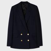 Paul Smith Women's Navy Wool-Silk Piqué Double-Breasted Blazer