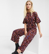 Monki confetti print tie waist short sleeves wide leg jumpsuit in burgundy