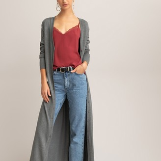 La Redoute Collections Longline Fine Knit Cardigan with Tie-Belt