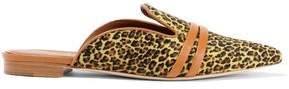 Malone Souliers Hermoine Leather-trimmed Leopard-print Calf Hair Slippers