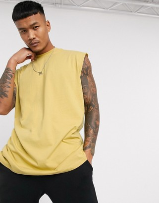 ASOS DESIGN oversized longline sleeveless t-shirt in yellow