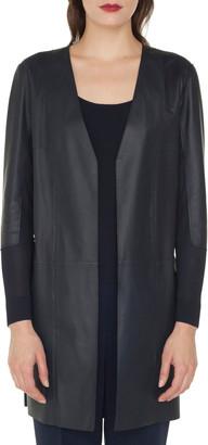 Akris Taro Open-Front Lamb Leather Jacket w/ Knit Back