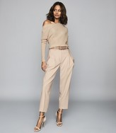Reiss SOFFIE STRIPED OFF-THE-SHOULDER TOP Nude