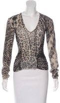 Roberto Cavalli Ruched Abstract Print Sweater