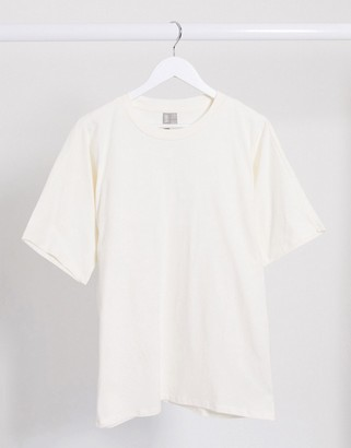 ASOS DESIGN co-ord super oversized t-shirt with batwing sleeve in bone