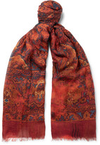 Alexander McQueen Tapestry Modal, Cotton And Cashmere-blend Scarf - Red