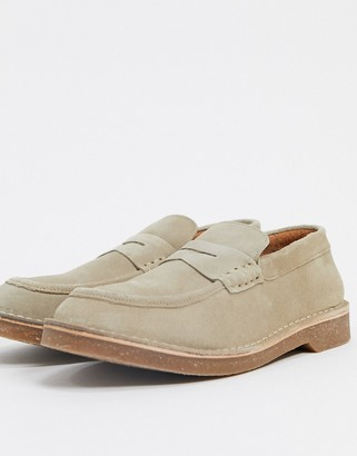Selected suede loafer in stone