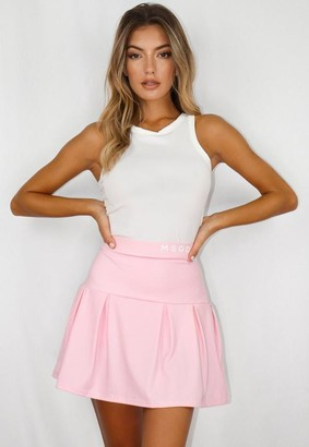 Missguided Pink Msgd Box Pleat Tennis Skirt