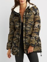 Charlotte Russe Hooded Longline Quilted Puffer Coat