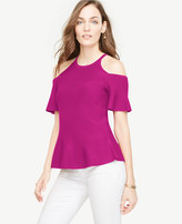 Ann Taylor Cold Shoulder Peplum Sweater