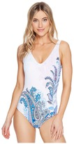 Tommy Bahama Paisley Leaves Plunge Tank One-Piece Swimsuit Women's Swimsuits One Piece