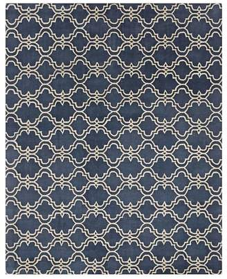 Pottery Barn Scroll Tile Tufted Rug, 8' X 10', Indigo Blue