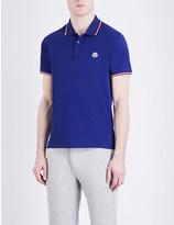 Moncler Contrast-trim cotton-piqué polo shirt