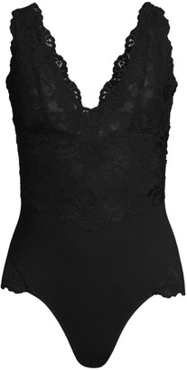 Josie Natori Rose Parfait Essentials Lace-Trim Bodysuit