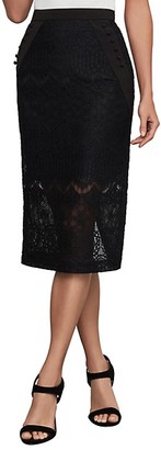 BCBGMAXAZRIA Ornate Floral Lace Pencil Skirt