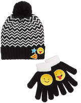 Berkshire 2-Pc. Chevron Emoji Hat and Gloves Set, Little Girls (4-6X) and Big Girls (7-16)