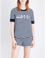 Esprit X Opening Ceremony Logo-embroidered striped cotton-jersey top