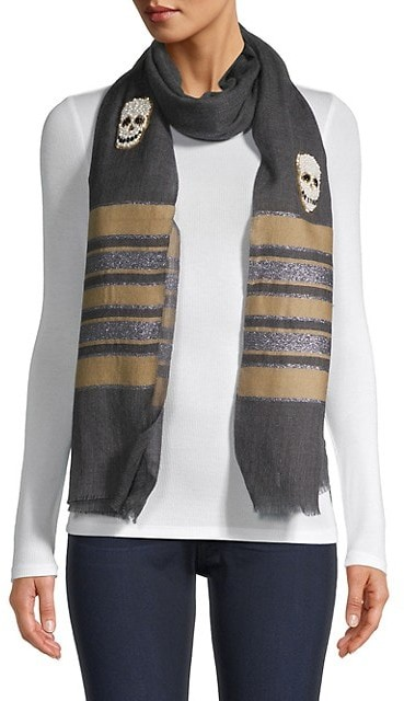 Thumbnail for your product : Janavi Pearl Skulls Striped Border Wool & Silk Scarf